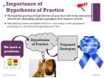 importance of hypotheses of practice