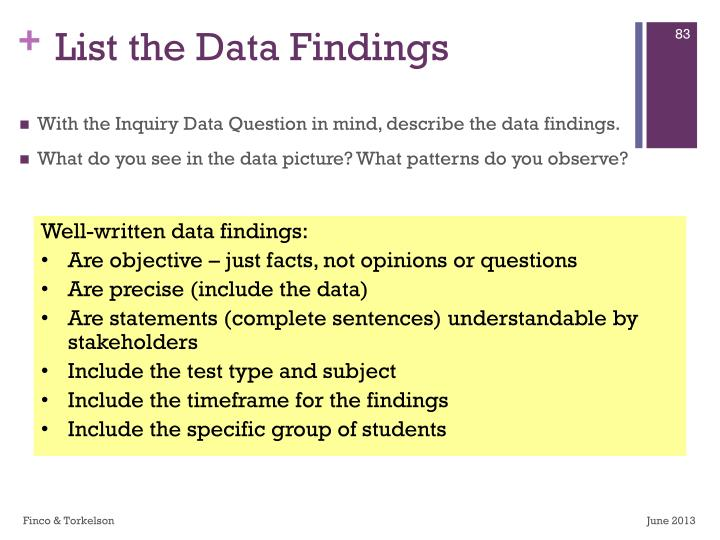 List the Data Findings