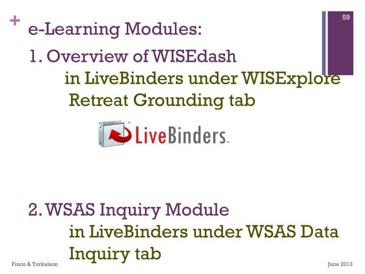 e-Learning Modules: