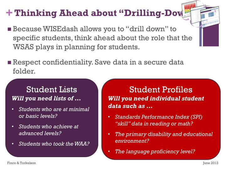 "Thinking Ahead about ""Drilling-Down"""