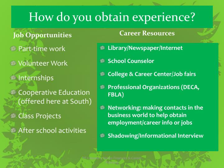 How do you obtain experience?