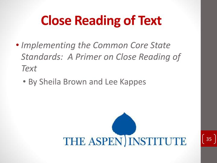 Close Reading of Text