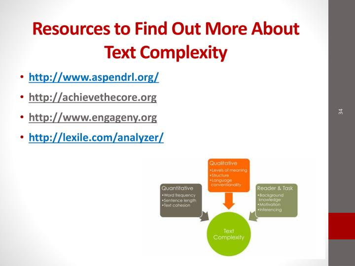 Resources to Find Out More About Text Complexity