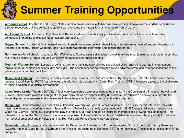 Summer Training Opportunities