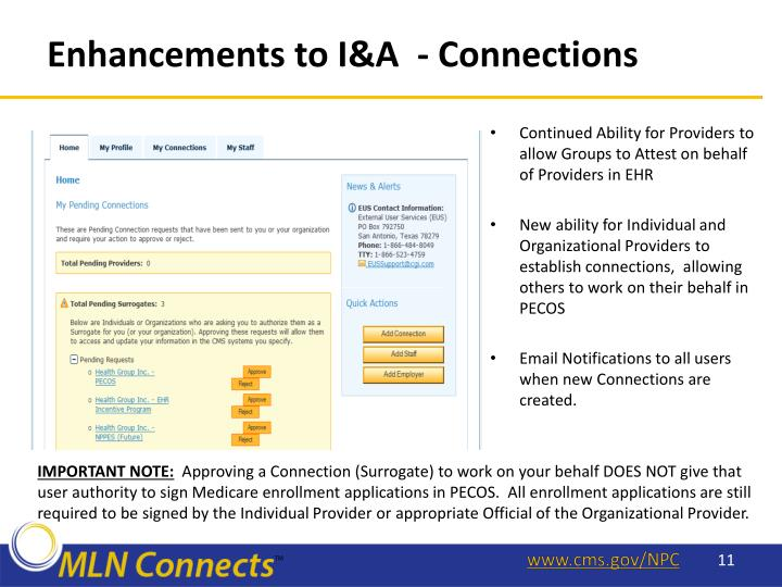 Enhancements to I&A  - Connections