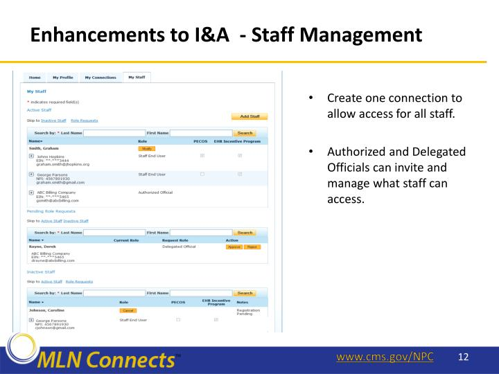 Enhancements to I&A  -