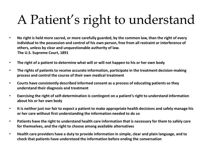 A Patient's right to understand