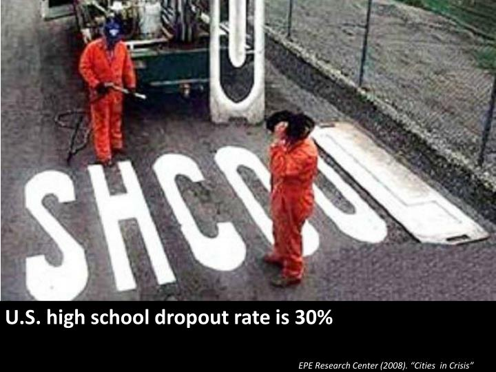 U.S. high school dropout rate is 30%