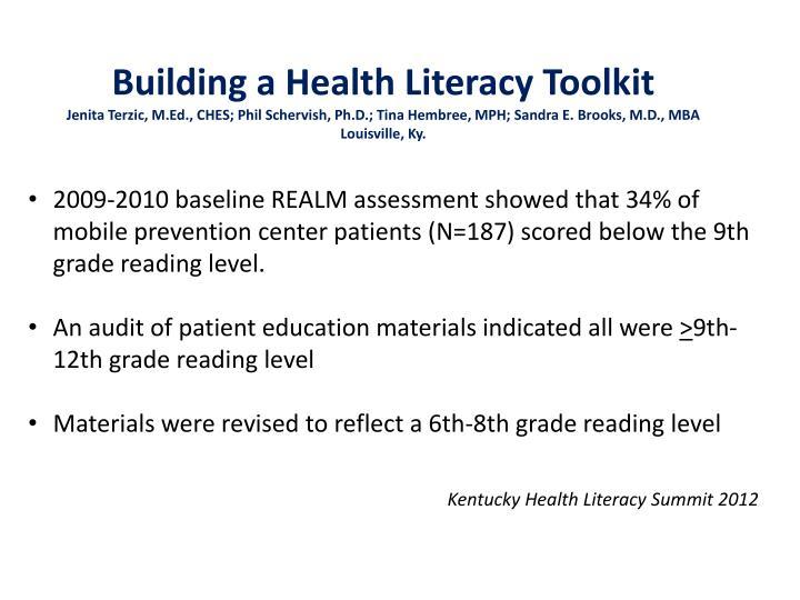 Building a Health Literacy Toolkit