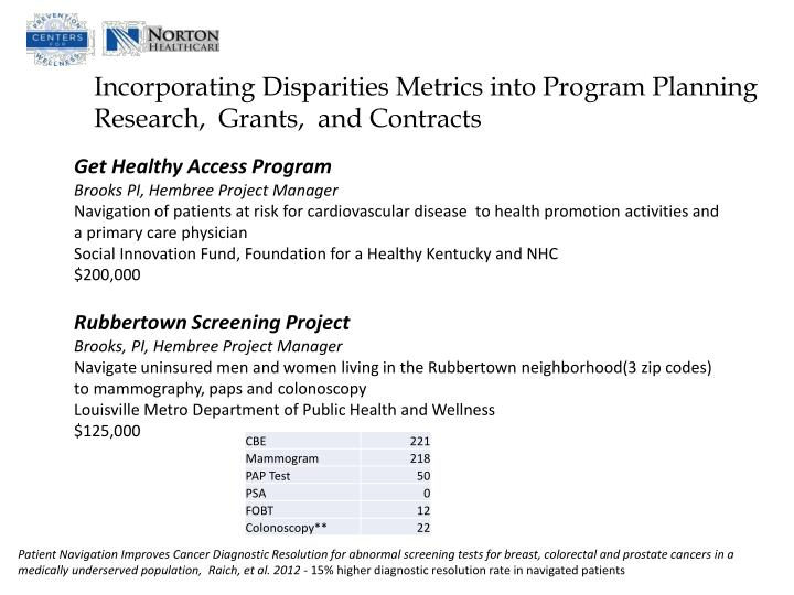Incorporating Disparities Metrics into Program Planning  Research,  Grants,  and Contracts