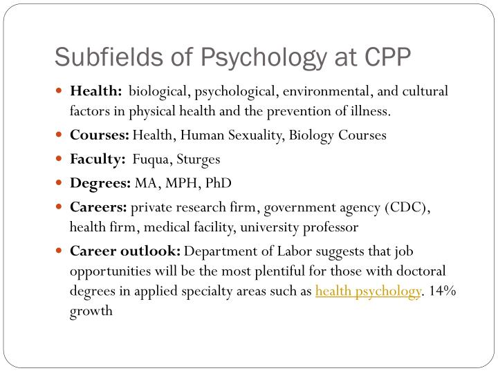 Subfields of Psychology at CPP