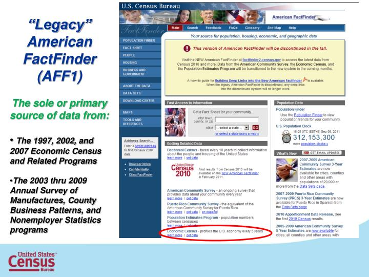 """Legacy"" American FactFinder"