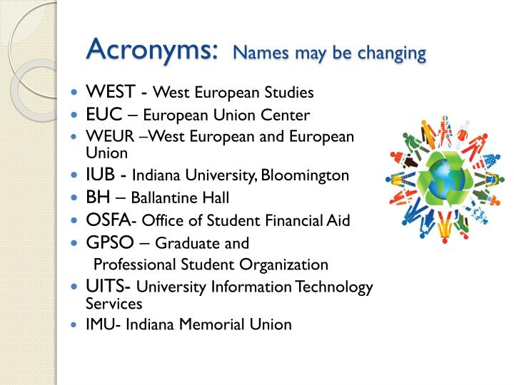 Acronyms names may be changing