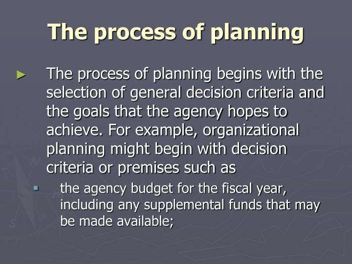The process of planning