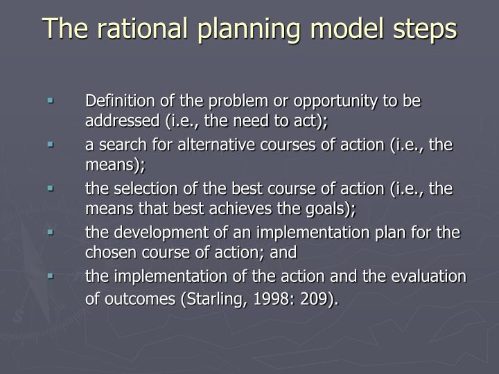 The rational planning model steps