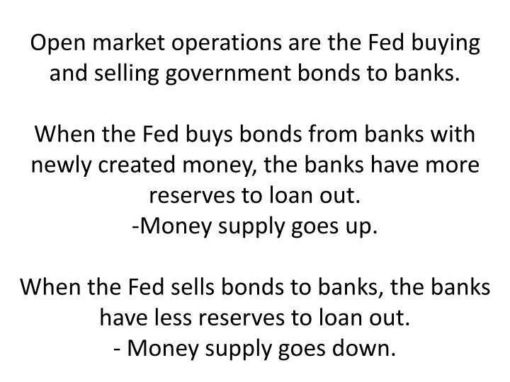 Open market operations are the Fed buying and selling government bonds to banks.