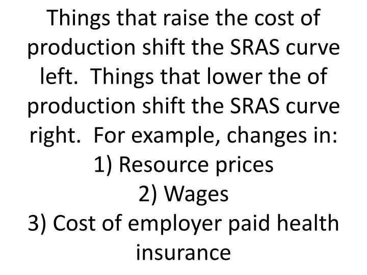 Things that raise the cost of production shift the SRAS curve left.  Things that lower the of production shift the SRAS curve right.  For example, changes in: