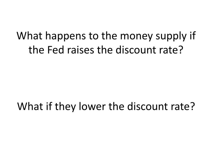 What happens to the money supply if the Fed raises the discount rate?