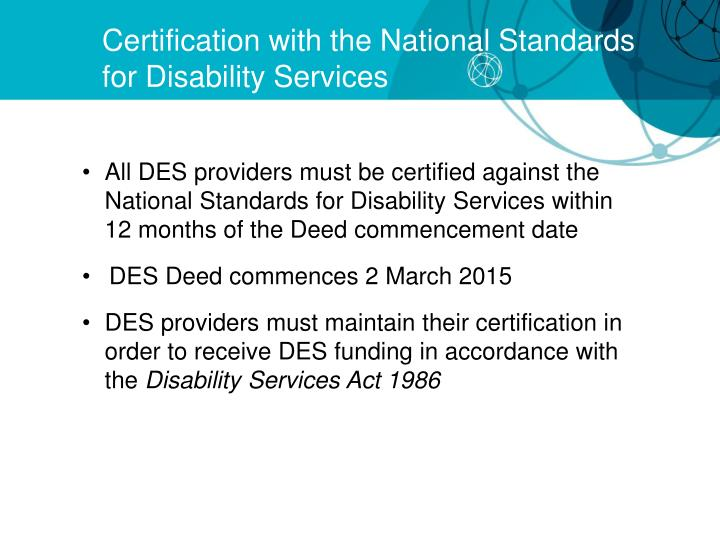 Certification with the National Standards for Disability Services