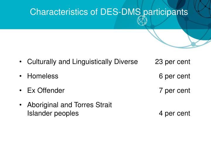 Characteristics of DES-DMS