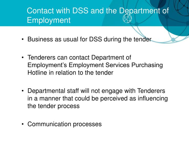 Contact with DSS and the Department of Employment