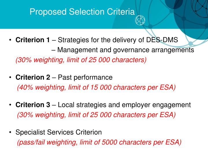 Proposed Selection Criteria