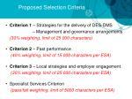 proposed selection criteria