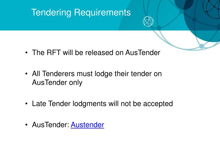 Tendering Requirements