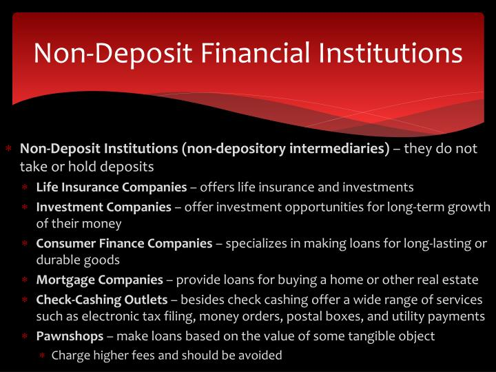 Non-Deposit Financial Institutions