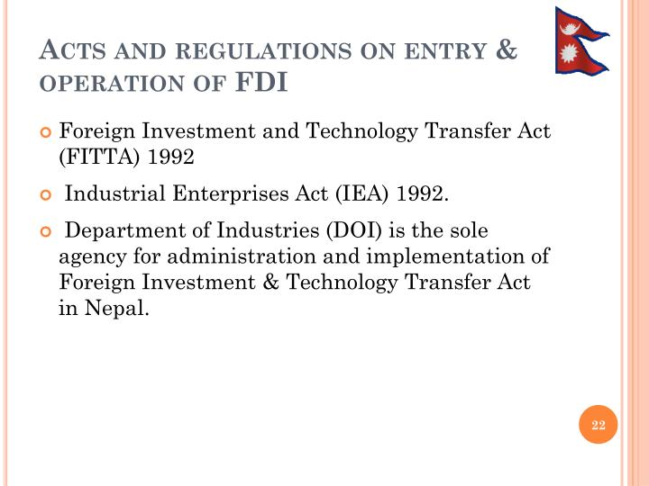 Acts and regulations on entry & operation of FDI