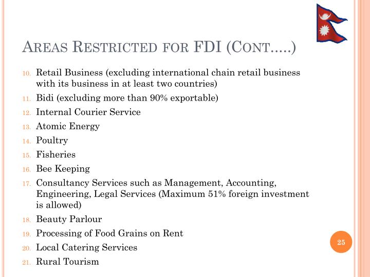 Areas Restricted for FDI (Cont.....)