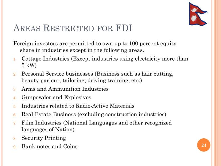 Areas Restricted for FDI