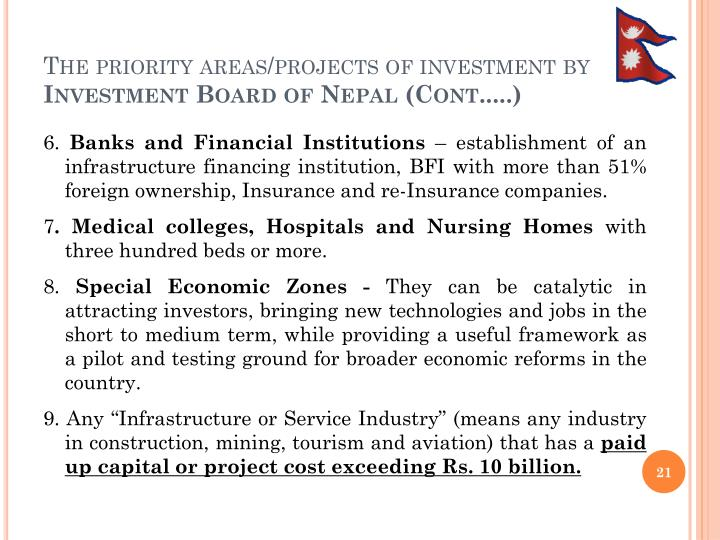 The priority areas/projects of investment by