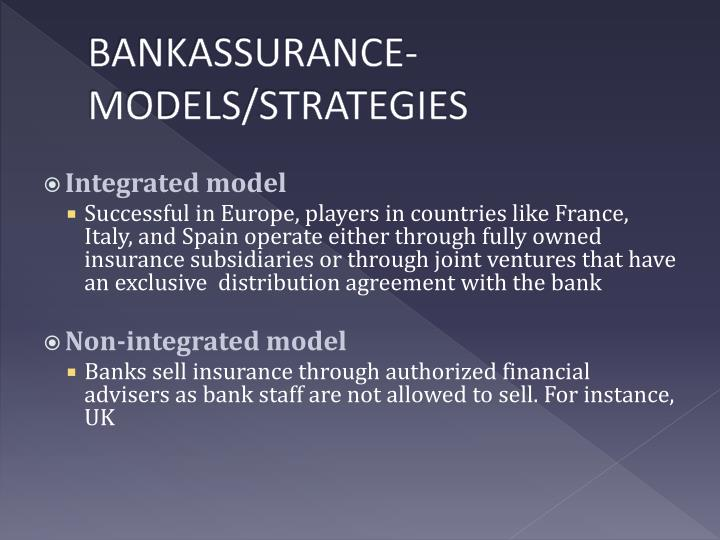 BANKASSURANCE- MODELS/STRATEGIES