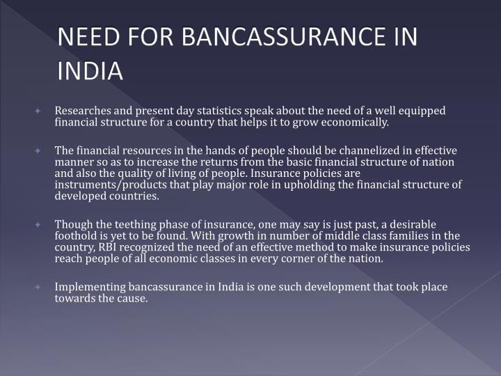 NEED FOR BANCASSURANCE IN INDIA