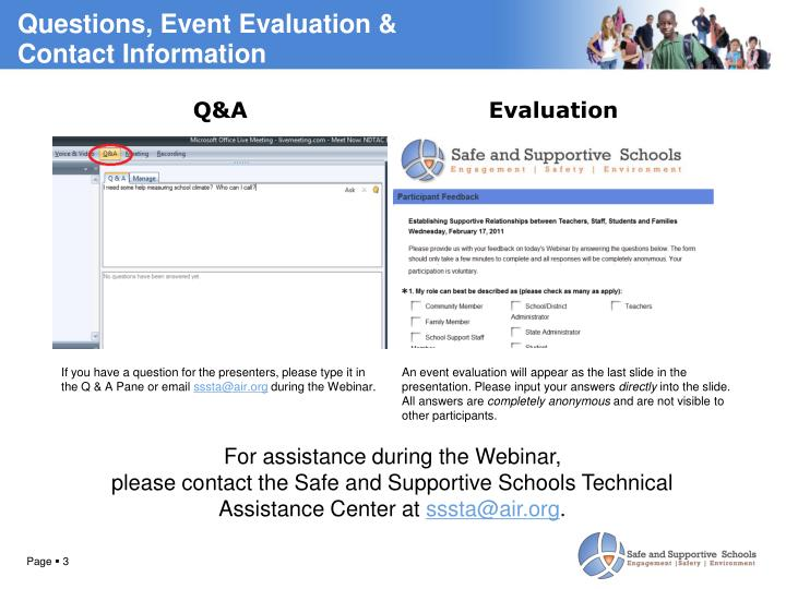 Questions, Event Evaluation &