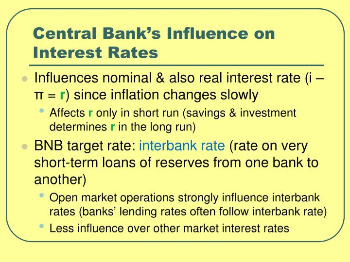 Central Bank's Influence on  Interest Rates