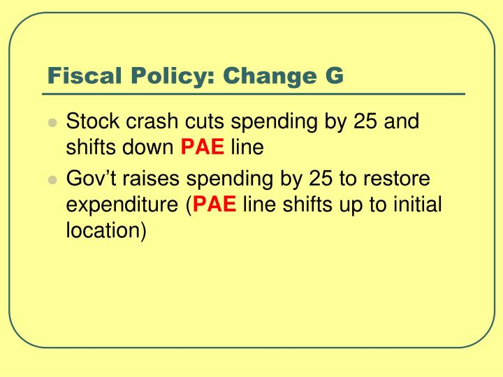 Fiscal Policy: Change G