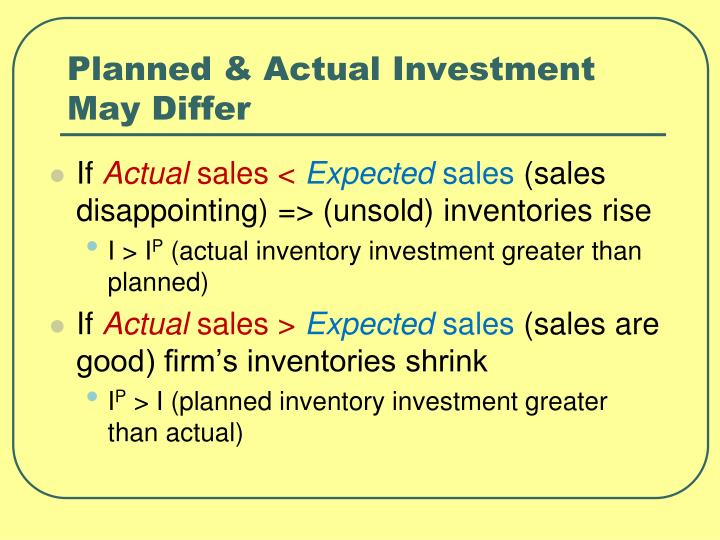 Planned & Actual Investment May Differ