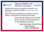 efficient express app with phone sale option