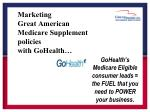marketing great american medicare supplement policies with gohealth