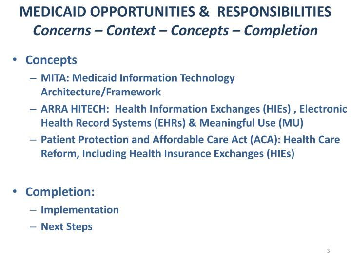 Medicaid opportunities responsibilities concerns context concepts completion1