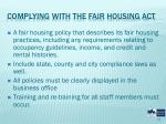 complying with the fair housing act
