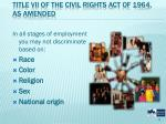 title vii of the civil rights act of 1964 as amended