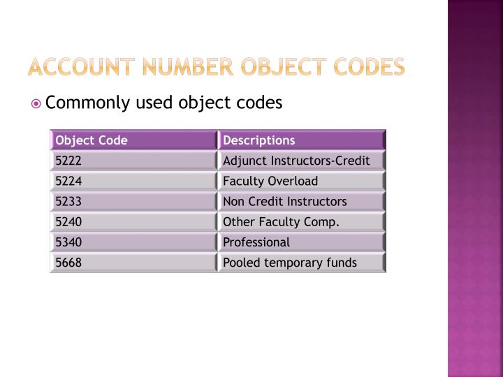 Account Number object codes