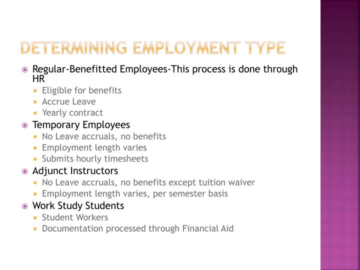 Determining Employment type