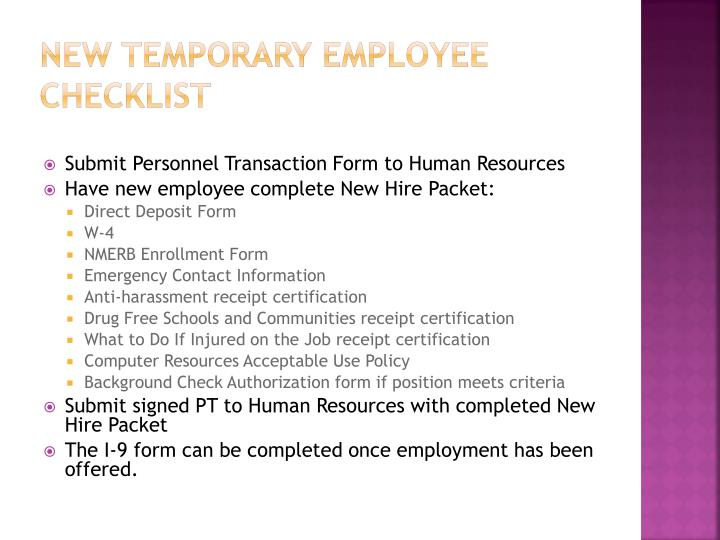 New Temporary Employee Checklist