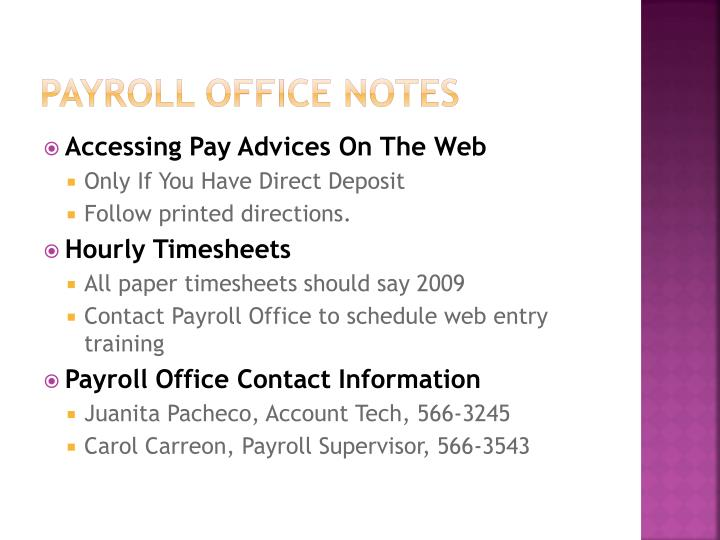 Payroll office notes
