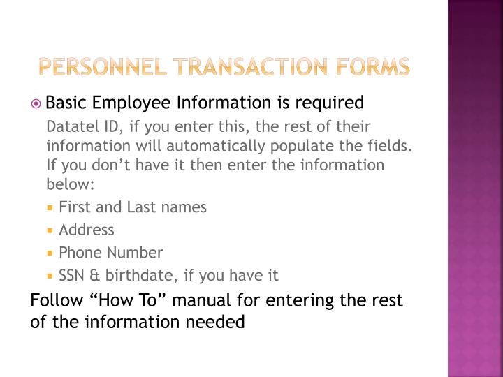 Personnel Transaction Forms