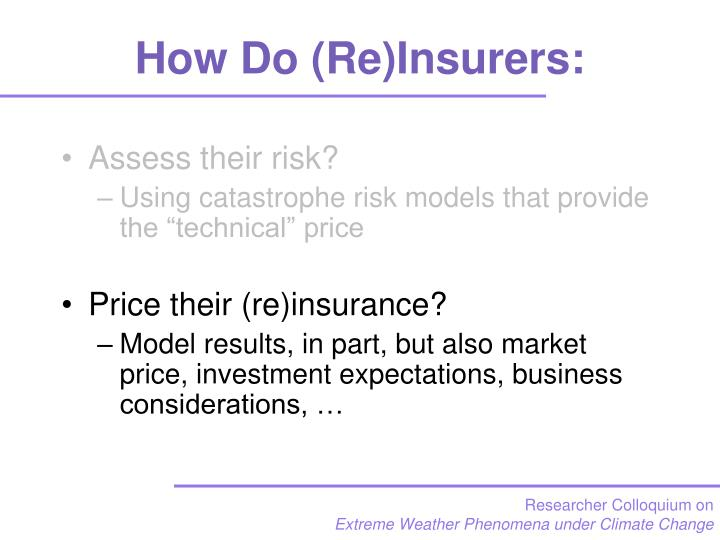 How Do (Re)Insurers: